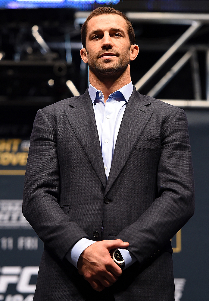LAS VEGAS, NV - DECEMBER 09:  Luke Rockhold poses for photos during the UFC Press Conference inside MGM Grand Garden Arena on December 9, 2015 in Las Vegas, Nevada.  (Photo by Josh Hedges/Zuffa LLC/Zuffa LLC via Getty Images)