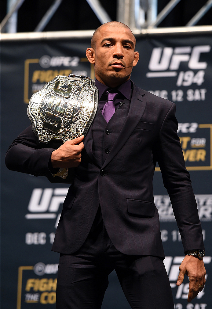LAS VEGAS, NV - DECEMBER 09:  Jose Aldo of Brazil poses for photos during the UFC Press Conference inside MGM Grand Garden Arena on December 9, 2015 in Las Vegas, Nevada.  (Photo by Josh Hedges/Zuffa LLC/Zuffa LLC via Getty Images)