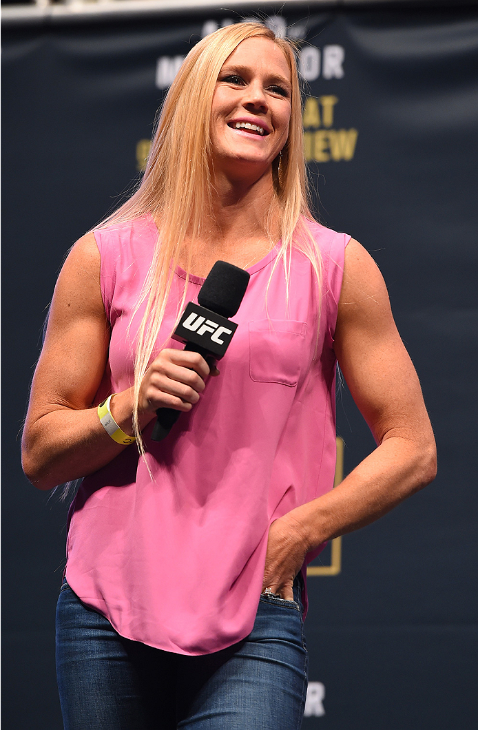 LAS VEGAS, NV - DECEMBER 11:   UFC women's bantamweight champion Holly Holm interacts with fans during a Q&A session before the UFC 194 weigh-in inside MGM Grand Garden Arena on December 10, 2015 in Las Vegas, Nevada.  (Photo by Josh Hedges/Zuffa LLC/Zuff