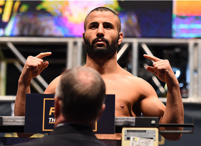 LAS VEGAS, NV - DECEMBER 11:   John Makdessi of Canada weighs in during the UFC 194 weigh-in inside MGM Grand Garden Arena on December 10, 2015 in Las Vegas, Nevada.  (Photo by Josh Hedges/Zuffa LLC/Zuffa LLC via Getty Images)