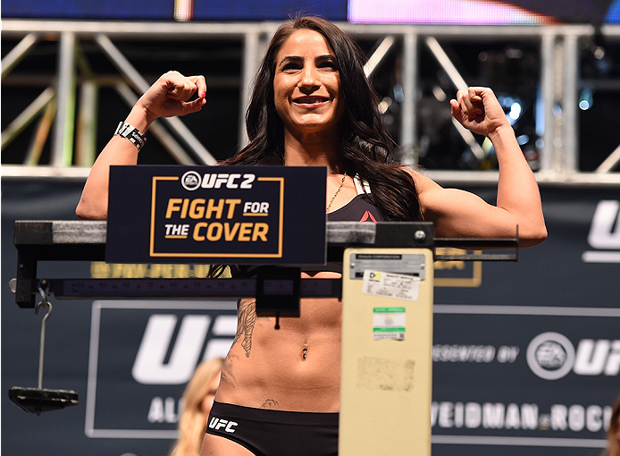LAS VEGAS, NV - DECEMBER 11:   Tecia Torres weighs in during the UFC 194 weigh-in inside MGM Grand Garden Arena on December 10, 2015 in Las Vegas, Nevada.  (Photo by Josh Hedges/Zuffa LLC/Zuffa LLC via Getty Images)