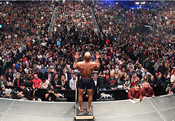 LAS VEGAS, NV - DECEMBER 11:   Yoel Romero of Cuba weighs in during the UFC 194 weigh-in inside MGM Grand Garden Arena on December 10, 2015 in Las Vegas, Nevada.  (Photo by Josh Hedges/Zuffa LLC/Zuffa LLC via Getty Images)