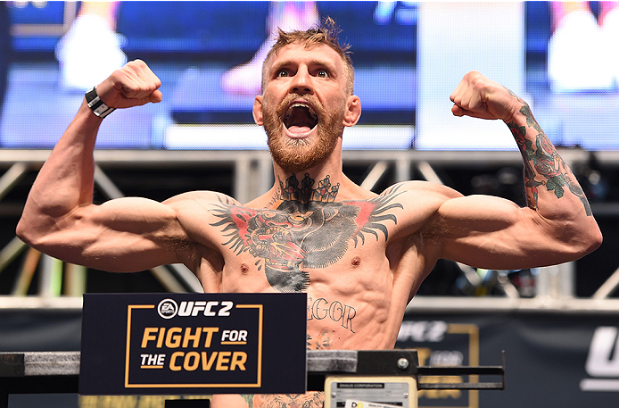 LAS VEGAS, NV - DECEMBER 11:   UFC interim featherweight champion Conor McGregor of Ireland weighs in during the UFC 194 weigh-in inside MGM Grand Garden Arena on December 10, 2015 in Las Vegas, Nevada.  (Photo by \{snum}\/Zuffa LLC/Zuffa LLC via Getty Im