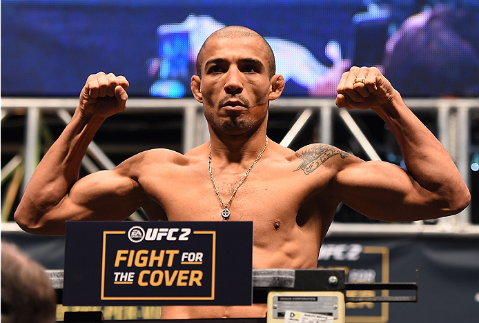 LAS VEGAS, NV - DECEMBER 11:   UFC featherweight champion Jose Aldo of Brazil weighs in during the UFC 194 weigh-in inside MGM Grand Garden Arena on December 10, 2015 in Las Vegas, Nevada.  (Photo by Josh Hedges/Zuffa LLC/Zuffa LLC via Getty Images)