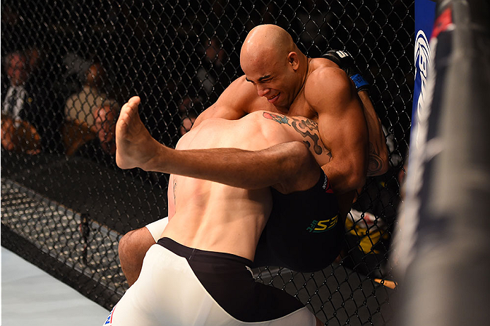 LAS VEGAS, NV - DECEMBER 12:  Warlley Alves of Brazil (top) attempts to submit Colby Covington in their welterweight bout during the UFC 194 event inside MGM Grand Garden Arena on December 12, 2015 in Las Vegas, Nevada.  (Photo by Josh Hedges/Zuffa LLC/Zu