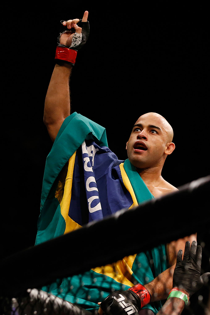 LAS VEGAS, NV - DECEMBER 12: Warlley Alves of Brazil reacts to his victory over Colby Covington in their welterweight bout during the UFC 194 event inside MGM Grand Garden Arena on December 12, 2015 in Las Vegas, Nevada.  (Photo by Christian Petersen/Zuff
