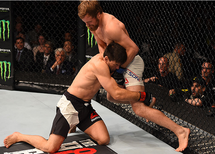 LAS VEGAS, NV - DECEMBER 12: (L-R) Demian Maia of Brazil attempts to take down Gunnar Nelson of Iceland in their welterweight bout during the UFC 194 event inside MGM Grand Garden Arena on December 12, 2015 in Las Vegas, Nevada.  (Photo by Josh Hedges/Zuf