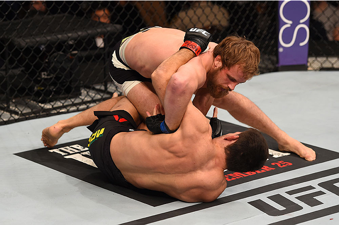 LAS VEGAS, NV - DECEMBER 12: Gunnar Nelson of Iceland (top) grapples with Demian Maia of Brazil in their welterweight bout during the UFC 194 event inside MGM Grand Garden Arena on December 12, 2015 in Las Vegas, Nevada.  (Photo by Josh Hedges/Zuffa LLC/Z