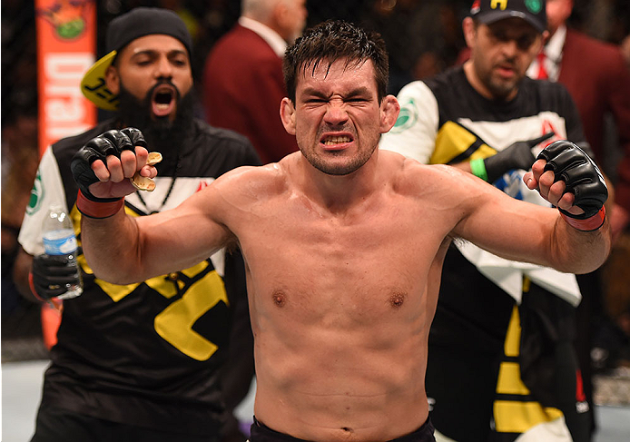 LAS VEGAS, NV - DECEMBER 12:  Demian Maia of Brazil reacts to his victory over Gunnar Nelson of Iceland in their welterweight bout during the UFC 194 event inside MGM Grand Garden Arena on December 12, 2015 in Las Vegas, Nevada.  (Photo by Josh Hedges/Zuf