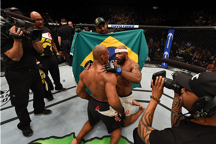 LAS VEGAS, NV - DECEMBER 12:  (L-R) Ronaldo 'Jacare' Souza of Brazil and Yoel Romero of Cuba embrace after their middleweight bout during the UFC 194 event inside MGM Grand Garden Arena on December 12, 2015 in Las Vegas, Nevada.  (Photo by Josh Hedges/Zuf