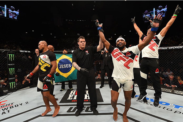 LAS VEGAS, NV - DECEMBER 12:  Yoel Romero of Cuba (right) reacts after being declared the winner over Ronaldo 'Jacare' Souza (left) in their middleweight bout during the UFC 194 event inside MGM Grand Garden Arena on December 12, 2015 in Las Vegas, Nevada