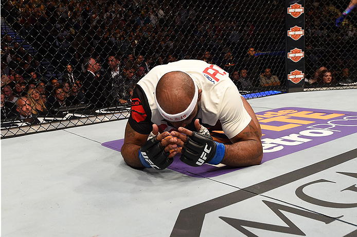 LAS VEGAS, NV - DECEMBER 12:  Yoel Romero of Cuba reacts after being declared the winner against Ronaldo 'Jacare' Souza of Brazil in their middleweight bout during the UFC 194 event inside MGM Grand Garden Arena on December 12, 2015 in Las Vegas, Nevada.