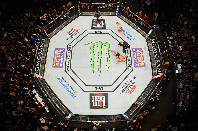 LAS VEGAS, NV - DECEMBER 12: An overhead view of the Octagon as Conor McGregor of Ireland reacts to his victory over Jose Aldo of Brazil during the UFC 194 event inside MGM Grand Garden Arena on December 12, 2015 in Las Vegas, Nevada.  (Photo by Zuffa LLC