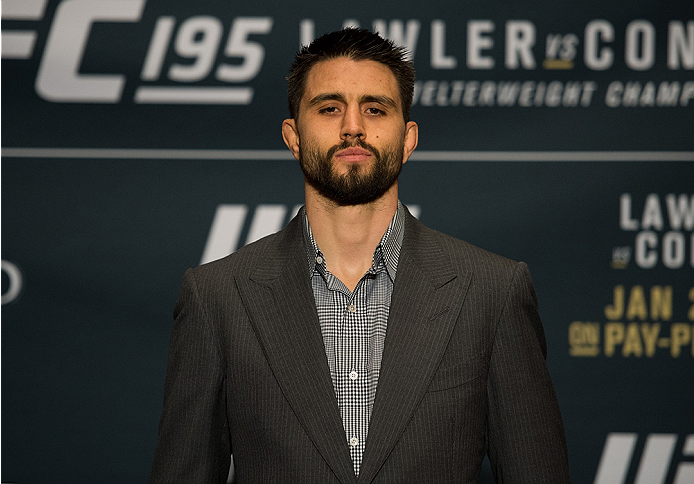LAS VEGAS, NEVADA - DECEMBER 31:  Carlos Condit poses for a picture after facing off during the Ultimate Media Day at the MGM Grand Hotel/Casino on December 31, 2015 in Las Vegas Nevada. (Photo by Brandon Magnus/Zuffa LLC/Zuffa LLC via Getty Images)