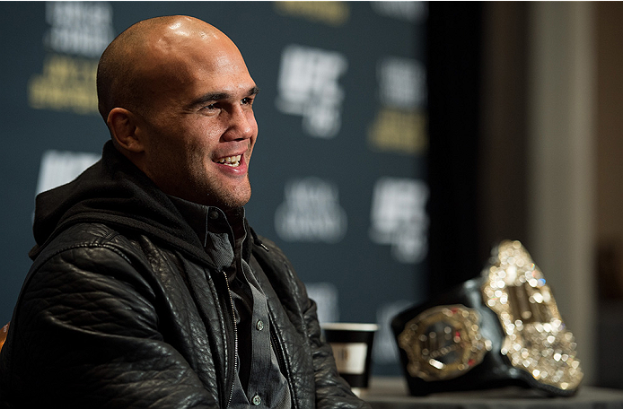 LAS VEGAS, NEVADA - DECEMBER 31:  UFC welterweight champion Robbie Lawler speaks to the media during the Ultimate Media Day at the MGM Grand Hotel/Casino on December 31, 2015 in Las Vegas Nevada. (Photo by Brandon Magnus/Zuffa LLC/Zuffa LLC via Getty Imag
