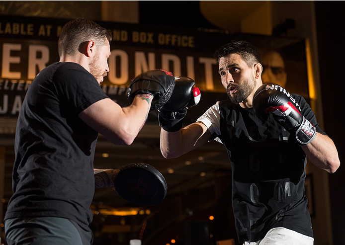 LAS VEGAS, NEVADA - DECEMBER 30:   Carlos Condit holds an open training session for fans and media at the MGM Grand Hotel/Casino on December 30, 2015 in Las Vegas Nevada. (Photo by Brandon Magnus/Zuffa LLC/Zuffa LLC via Getty Images)