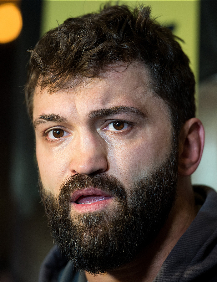 LAS VEGAS, NEVADA - DECEMBER 30:   Andrei Arlovski speaks to the media at the MGM Grand Hotel/Casino on December 30, 2015 in Las Vegas Nevada. (Photo by Brandon Magnus/Zuffa LLC/Zuffa LLC via Getty Images)