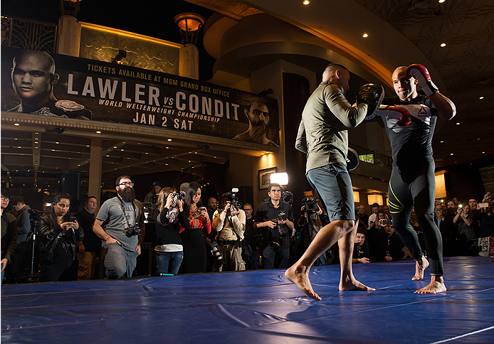 LAS VEGAS, NEVADA - DECEMBER 30:   UFC welterweight champion Robbie Lawler holds an open training session for fans and media at the MGM Grand Hotel/Casino on December 30, 2015 in Las Vegas Nevada. (Photo by Brandon Magnus/Zuffa LLC/Zuffa LLC via Getty Ima