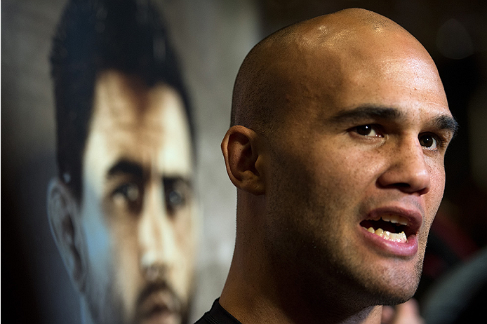 LAS VEGAS, NEVADA - DECEMBER 30:   UFC welterweight champion Robbie Lawler speaks to the media at the MGM Grand Hotel/Casino on December 30, 2015 in Las Vegas Nevada. (Photo by Brandon Magnus/Zuffa LLC/Zuffa LLC via Getty Images)
