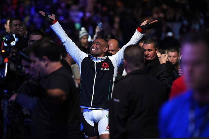 CURITIBA, BRAZIL - MAY 14:  Sergio Moraes of Brazil enters the arena before facing Luan Chagas of Brazil in their welterweight bout during the UFC 198 event at Arena da Baixada stadium on May 14, 2016 in Curitiba, Parana, Brazil.  (Photo by Josh Hedges/Zu