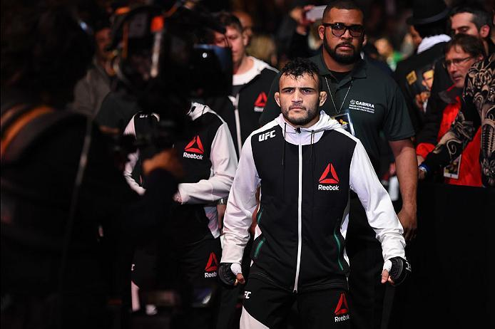 CURITIBA, BRAZIL - MAY 14:  John Lineker of Brazil enters the arena before facing Rob Font in their bantamweight bout during the UFC 198 event at Arena da Baixada stadium on May 14, 2016 in Curitiba, Parana, Brazil.  (Photo by Josh Hedges/Zuffa LLC/Zuffa