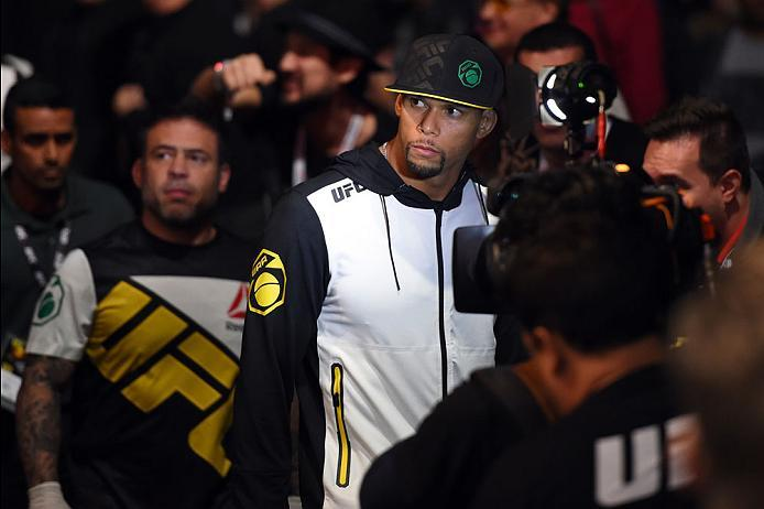 CURITIBA, BRAZIL - MAY 14:  Thiago Santos of Brazil prepares to enter the Octagon before facing Nate Marquardt in their middleweight bout during the UFC 198 event at Arena da Baixada stadium on May 14, 2016 in Curitiba, Parana, Brazil.  (Photo by Josh Hed