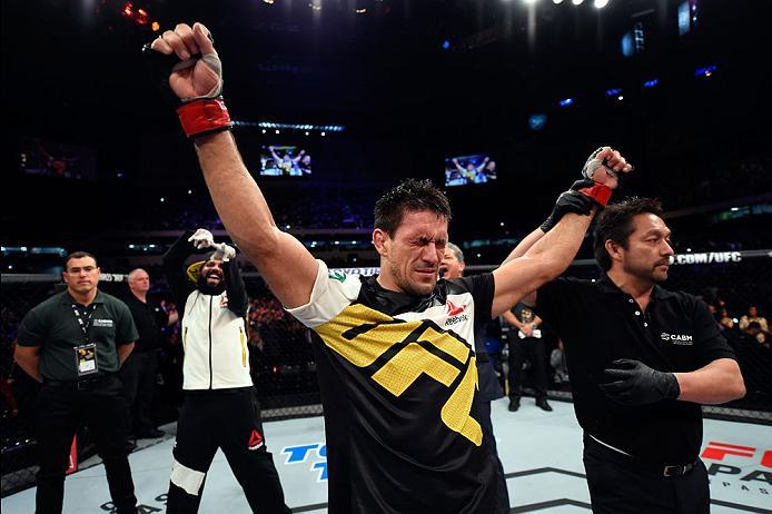 CURITIBA, BRAZIL - MAY 14:  Demian Maia of Brazil celebrates after submitting Matt Brown in their welterweight bout during the UFC 198 event at Arena da Baixada stadium on May 14, 2016 in Curitiba, Parana, Brazil.  (Photo by Josh Hedges/Zuffa LLC/Zuffa LL