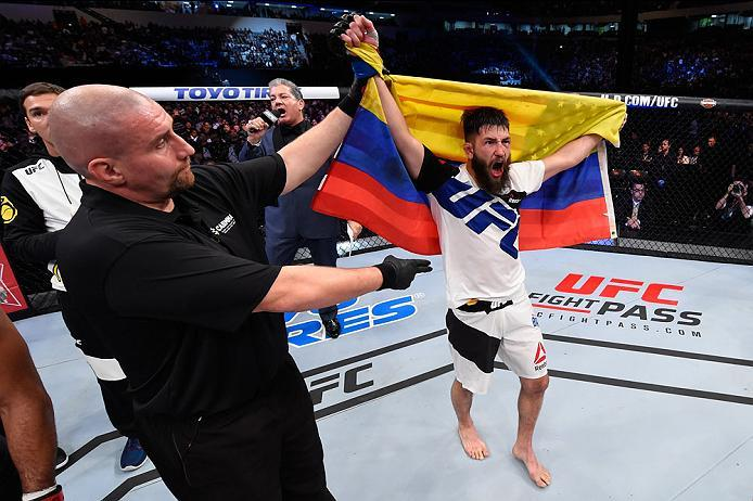 CURITIBA, BRAZIL - MAY 14:  Bryan Barberena celebrates after defeating Warlley Alves of Brazil in their middleweight bout during the UFC 198 event at Arena da Baixada stadium on May 14, 2016 in Curitiba, Parana, Brazil.  (Photo by Josh Hedges/Zuffa LLC/Zu
