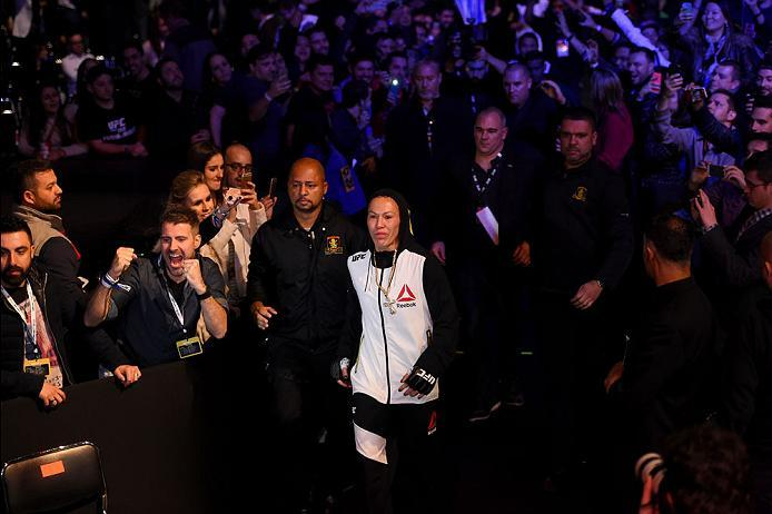 CURITIBA, BRAZIL - MAY 14:  Cristiane 'Cyborg' Justino of Brazil enters the arena before facing Leslie Smith in their women's catchweight bout during the UFC 198 event at Arena da Baixada stadium on May 14, 2016 in Curitiba, Parana, Brazil.  (Photo by Jos