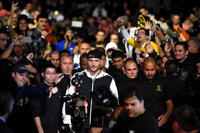 CURITIBA, BRAZIL - MAY 14:  Stipe Miocic enters the arena before facing Fabricio Werdum of Brazil in their UFC heavyweight championship bout during the UFC 198 event at Arena da Baixada stadium on May 14, 2016 in Curitiba, Parana, Brazil.  (Photo by Josh
