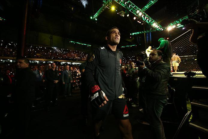 CURITIBA, BRAZIL - MAY 14: Fabricio Werdum of Brazil prepares to enter the Octagon before facing Stipe Miocic of the United States in their heavyweight bout during the UFC 198 at Arena da Baixada stadium on May 14, 2016 in Curitiba, Brazil. (Photo by Buda