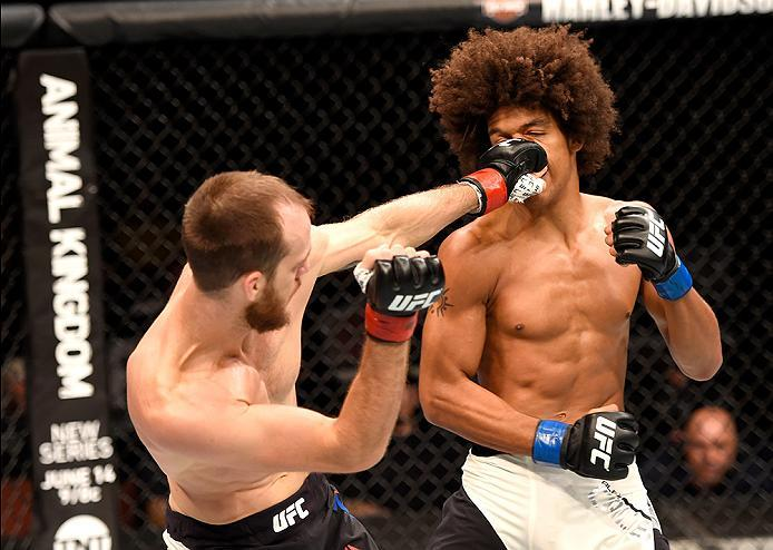 INGLEWOOD, CA - JUNE 04:  Cole Miller lands a left punch on Alex Caceres in their featherweight bout during the UFC 199 event at The Forum on June 4, 2016 in Inglewood, California.  (Photo by Josh Hedges/Zuffa LLC/Zuffa LLC via Getty Images)