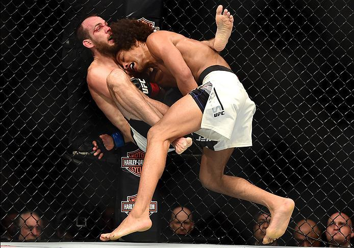 INGLEWOOD, CA - JUNE 04:  Cole Miller and Alex Caceres wrestle in their featherweight bout during the UFC 199 event at The Forum on June 4, 2016 in Inglewood, California.  (Photo by Harry How/Zuffa LLC/Zuffa LLC via Getty Images)