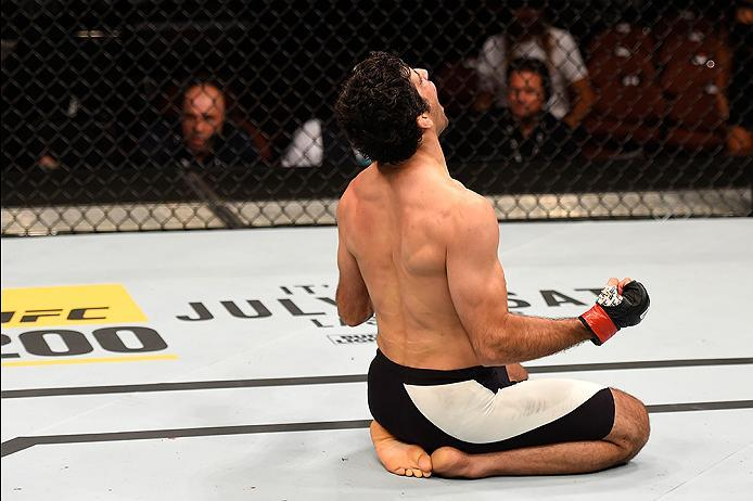 INGLEWOOD, CA - JUNE 04:  Beneil Dariush of Iran celebrates after his first round knock out of James Vick in their lightweight bout during the UFC 199 event at The Forum on June 4, 2016 in Inglewood, California.  (Photo by Josh Hedges/Zuffa LLC/Zuffa LLC