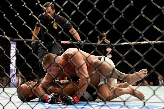 INGLEWOOD, CA - JUNE 04:  Dan Henderson wrestles Hector Lombard of Cuba in their middleweight bout during the UFC 199 event at The Forum on June 4, 2016 in Inglewood, California.  (Photo by Harry How/Zuffa LLC/Zuffa LLC via Getty Images)
