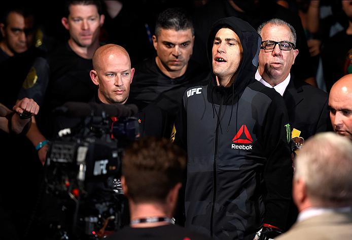 INGLEWOOD, CA - JUNE 04:  Dominick Cruz walks to the Octagon for his fight against Urijah Faber in their UFC bantamweight championship bout during the UFC 199 event at The Forum on June 4, 2016 in Inglewood, California.  (Photo by Josh Hedges/Zuffa LLC/Zu
