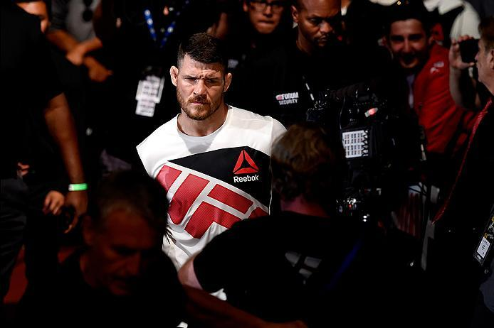 INGLEWOOD, CA - JUNE 04:  Michael Bisping of England walks to the Octagon for his fight against Luke Rockhold in their UFC middleweight championship bout during the UFC 199 event at The Forum on June 4, 2016 in Inglewood, California.  (Photo by Josh Hedge