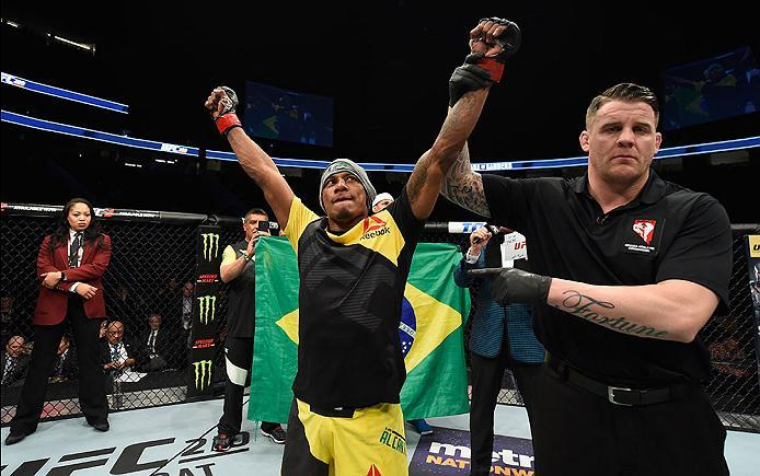 LAS VEGAS, NV - MARCH 04: Iuri Alcantara of Brazil reacts to his victory over Luke Sanders in their bantamweight bout during the UFC 209 event at T-Mobile Arena on March 4, 2017 in Las Vegas, Nevada.  (Photo by Josh Hedges/Zuffa LLC/Zuffa LLC via Getty Im