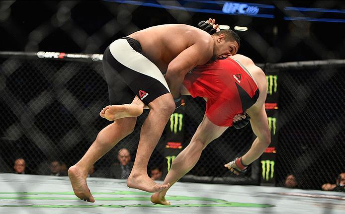 LAS VEGAS, NV - MARCH 04: (L-R) Luis Henrique of Brazil takes down Marcin Tybura of Poland in their heavyweight bout during the UFC 209 event at T-Mobile Arena on March 4, 2017 in Las Vegas, Nevada.  (Photo by Jeff Bottari/Zuffa LLC/Zuffa LLC via Getty Im