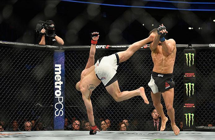LAS VEGAS, NV - MARCH 04:  (L-R) Lando Vannata kicks David Teymur of Sweden in their lightweight bout during the UFC 209 event at T-Mobile Arena on March 4, 2017 in Las Vegas, Nevada.  (Photo by Jeff Bottari/Zuffa LLC/Zuffa LLC via Getty Images) *** Local