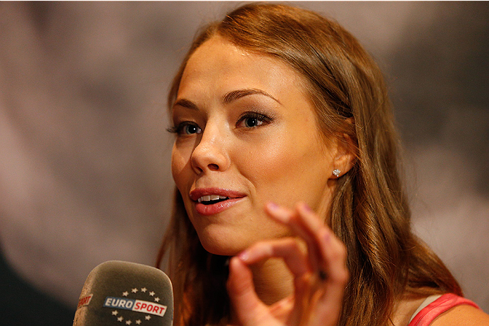 LAS VEGAS, NV - JULY 03:  The Ultimate Fighter season 20 cast member Rose Namajunas interacts with media during the UFC Ultimate Media Day at the Mandalay Bay Resort and Casino on July 3, 2014 in Las Vegas, Nevada.  (Photo by Josh Hedges/Zuffa LLC/Zuffa L