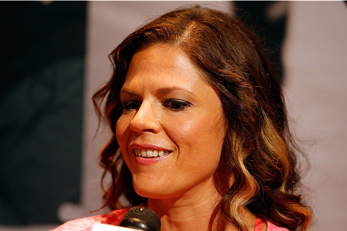 LAS VEGAS, NV - JULY 03:  The Ultimate Fighter season 20 cast member Emily Peters Kagan interacts with media during the UFC Ultimate Media Day at the Mandalay Bay Resort and Casino on July 3, 2014 in Las Vegas, Nevada.  (Photo by Josh Hedges/Zuffa LLC/Zuf