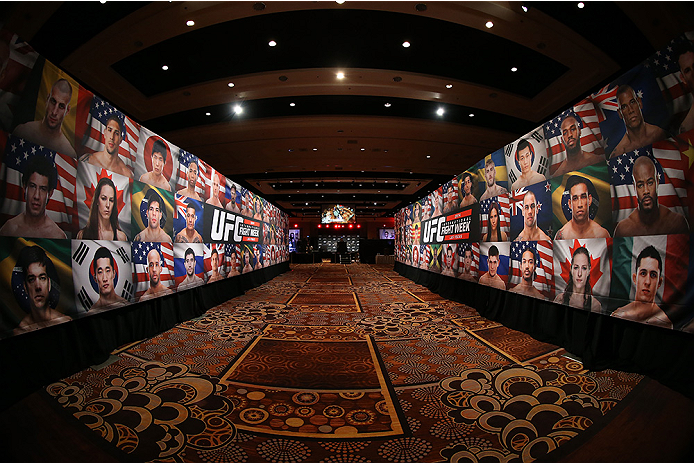 LAS VEGAS, NV - JULY 03:  A general view of the entry way during the UFC Ultimate Media Day at the Mandalay Bay Resort and Casino on July 3, 2014 in Las Vegas, Nevada.  (Photo by Josh Hedges/Zuffa LLC/Zuffa LLC via Getty Images)