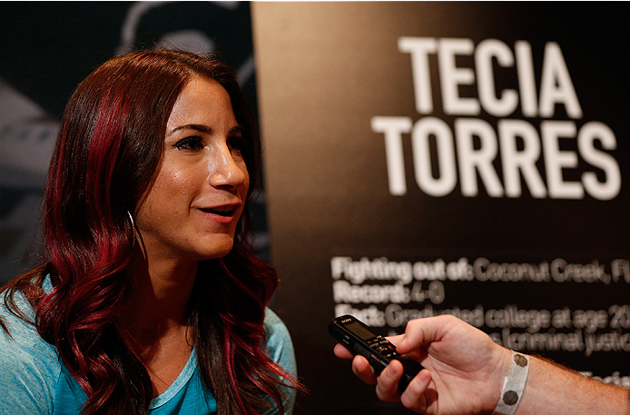 LAS VEGAS, NV - JULY 03:  The Ultimate Fighter season 20 cast member Tecia Torres interacts with media during the UFC Ultimate Media Day at the Mandalay Bay Resort and Casino on July 3, 2014 in Las Vegas, Nevada.  (Photo by Josh Hedges/Zuffa LLC/Zuffa LLC