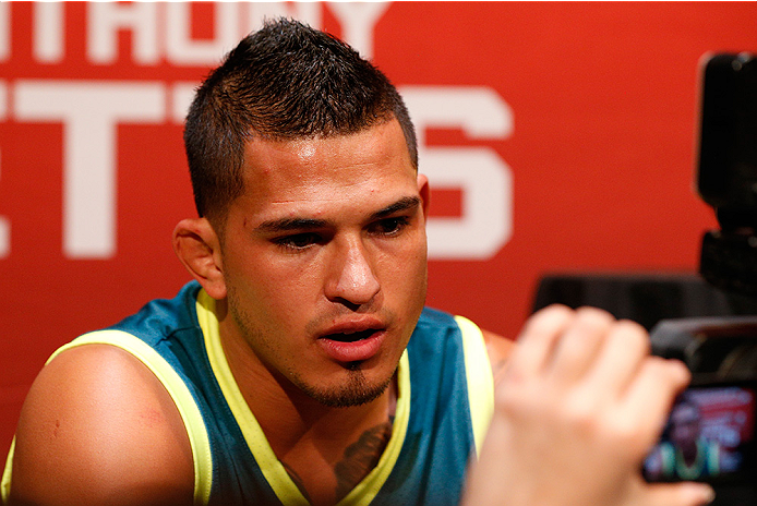 LAS VEGAS, NV - JULY 03:  UFC lightweight champion Anthony Pettis interacts with media during the UFC Ultimate Media Day at the Mandalay Bay Resort and Casino on July 3, 2014 in Las Vegas, Nevada.  (Photo by Josh Hedges/Zuffa LLC/Zuffa LLC via Getty Image