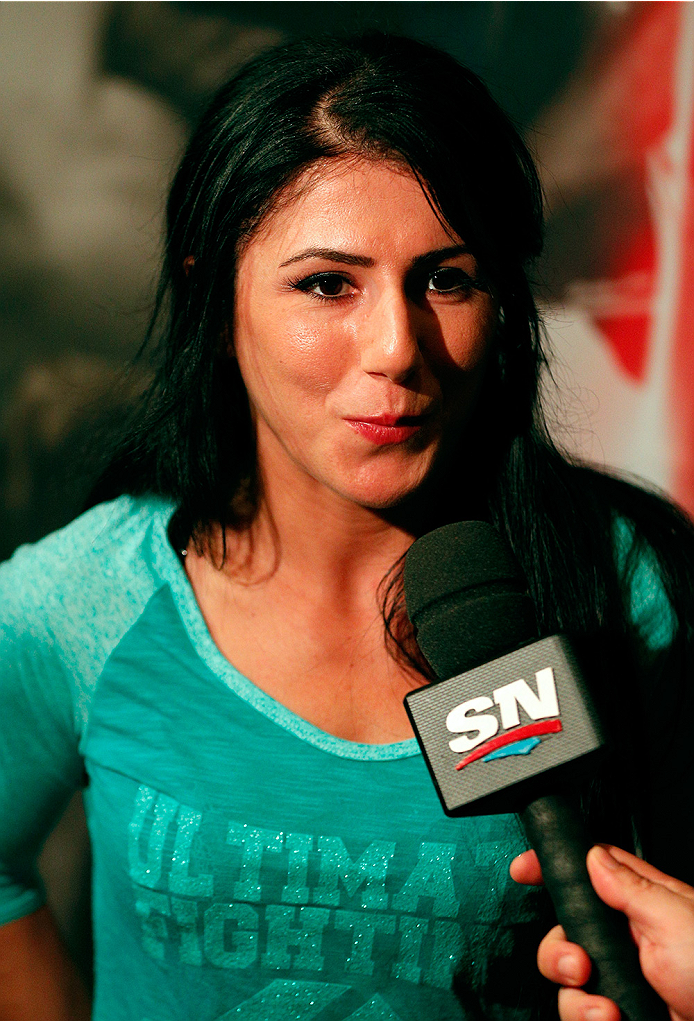 LAS VEGAS, NV - JULY 03:  The Ultimate Fighter season 20 cast member Randa Markos interacts with media during the UFC Ultimate Media Day at the Mandalay Bay Resort and Casino on July 3, 2014 in Las Vegas, Nevada.  (Photo by Josh Hedges/Zuffa LLC/Zuffa LLC