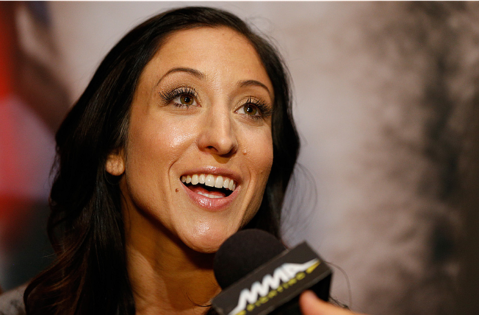 LAS VEGAS, NV - JULY 03:  The Ultimate Fighter season 20 cast member Jessica Penne interacts with media during the UFC Ultimate Media Day at the Mandalay Bay Resort and Casino on July 3, 2014 in Las Vegas, Nevada.  (Photo by Josh Hedges/Zuffa LLC/Zuffa LL