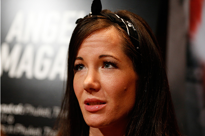 LAS VEGAS, NV - JULY 03:  The Ultimate Fighter season 20 cast member Angela Magana interacts with media during the UFC Ultimate Media Day at the Mandalay Bay Resort and Casino on July 3, 2014 in Las Vegas, Nevada.  (Photo by Josh Hedges/Zuffa LLC/Zuffa LL