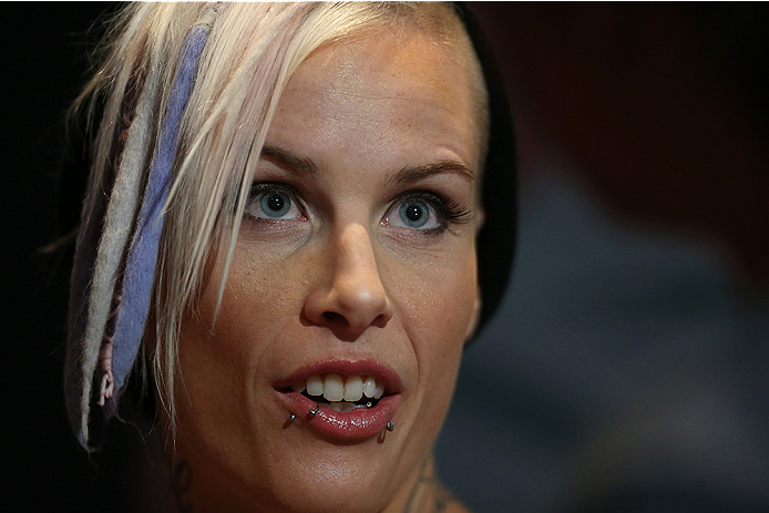 LAS VEGAS, NV - JULY 03:  The Ultimate Fighter season 20 cast member Bec Rawlings interacts with media during the UFC Ultimate Media Day at the Mandalay Bay Resort and Casino on July 3, 2014 in Las Vegas, Nevada.  (Photo by Josh Hedges/Zuffa LLC/Zuffa LLC