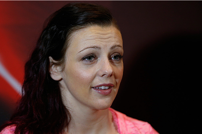 LAS VEGAS, NV - JULY 03:  The Ultimate Fighter season 20 fighter Joanne Calderwood interacts with media during the UFC Ultimate Media Day at the Mandalay Bay Resort and Casino on July 3, 2014 in Las Vegas, Nevada.  (Photo by Josh Hedges/Zuffa LLC/Zuffa LL